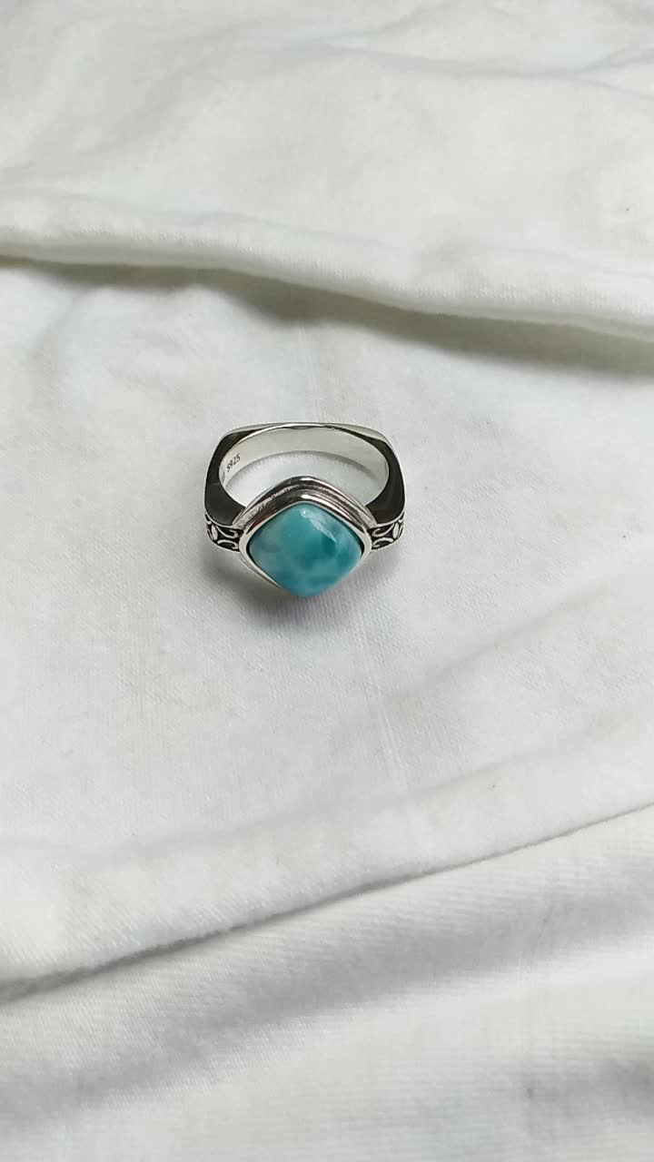 Natural Blue Larimar Stone 925 Sterling Silver Engagement Ring Fashion Jewelry With Inlay