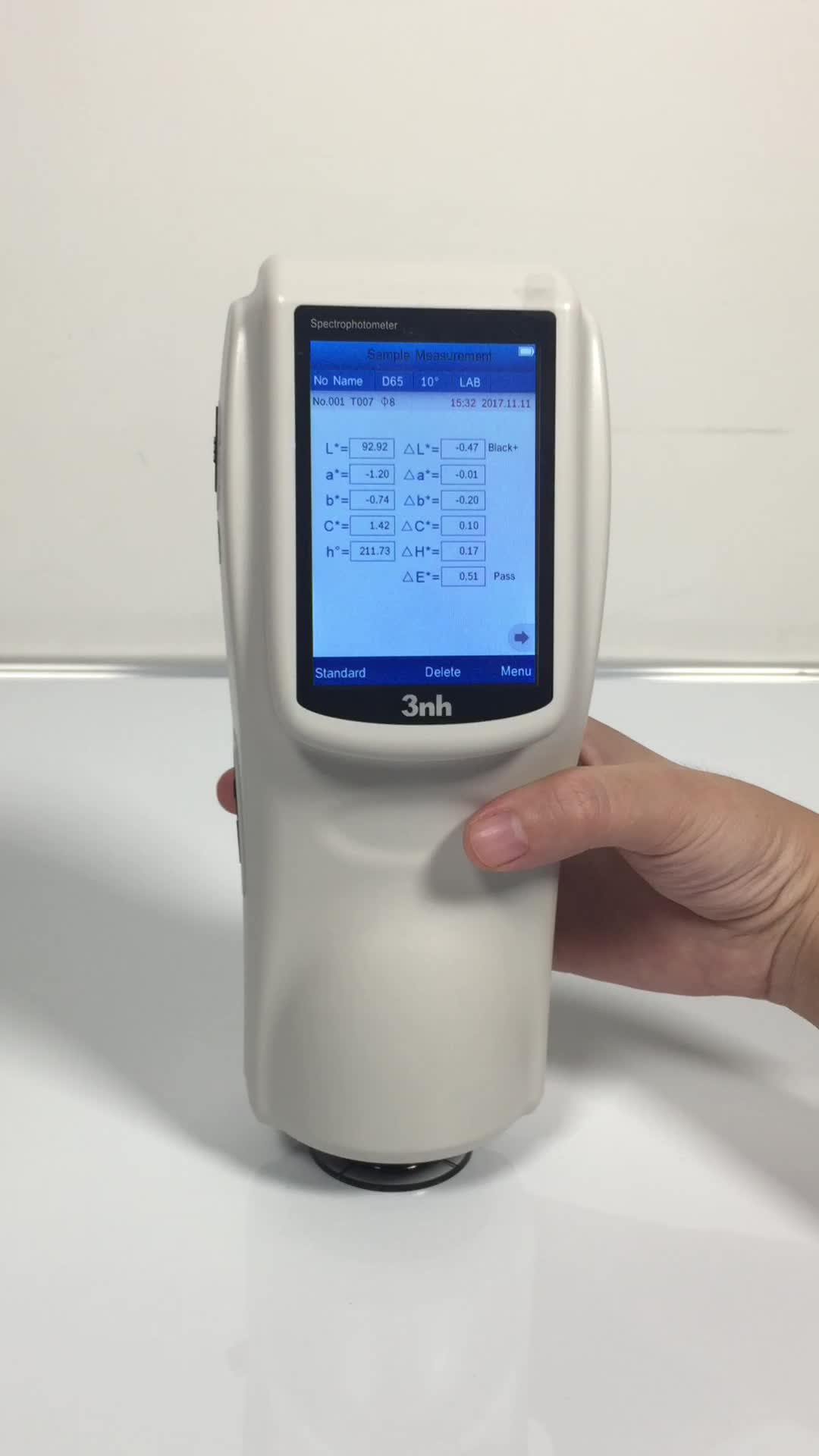 3nh ns808 automatic spectrophotometer colorimeter with 45/0 for reflectance film color difference and brightness Yxy
