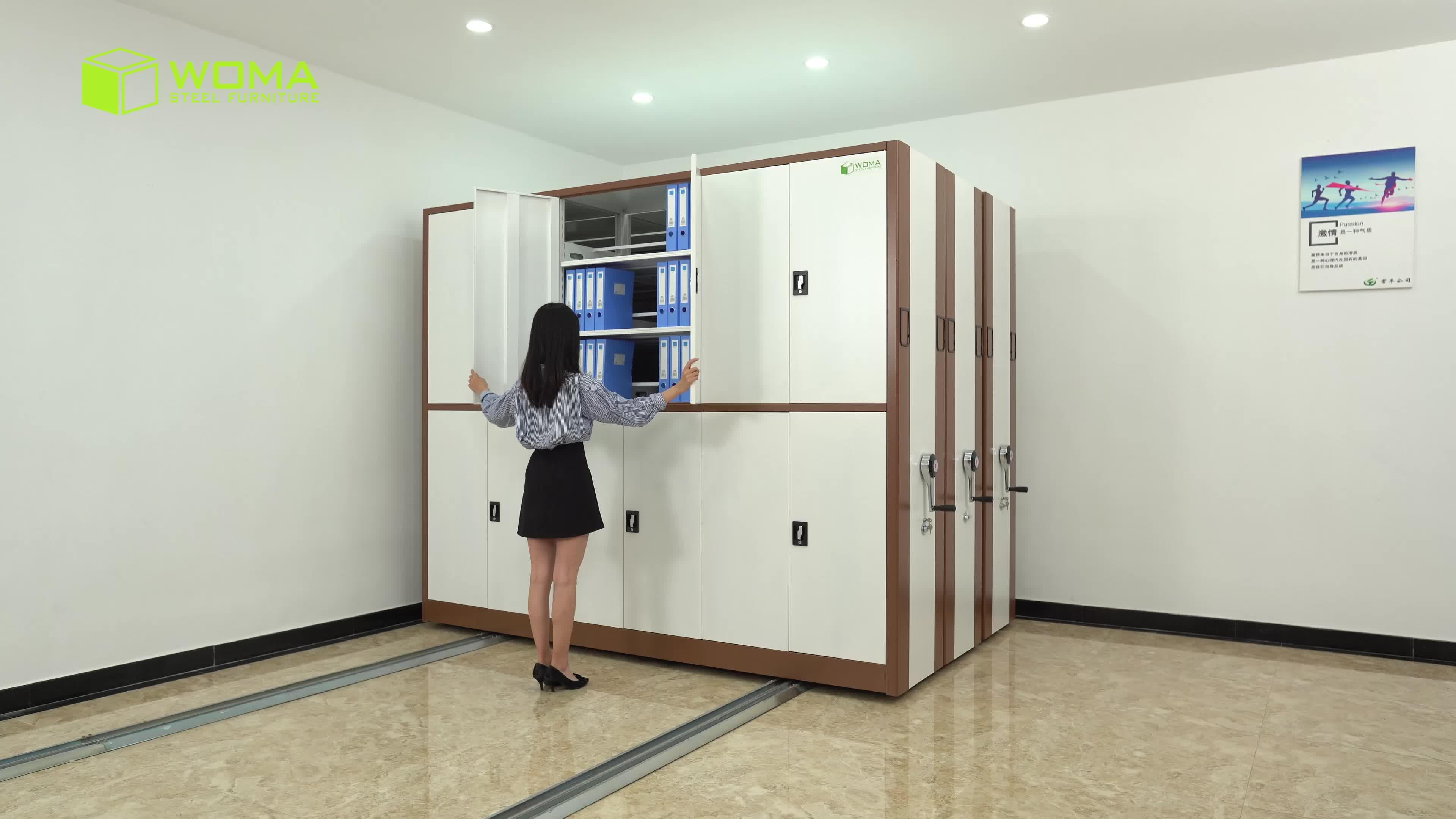 近代的なオフィスアーカイブ収納キャビネット Mobile はファイルコンパクト棚システム