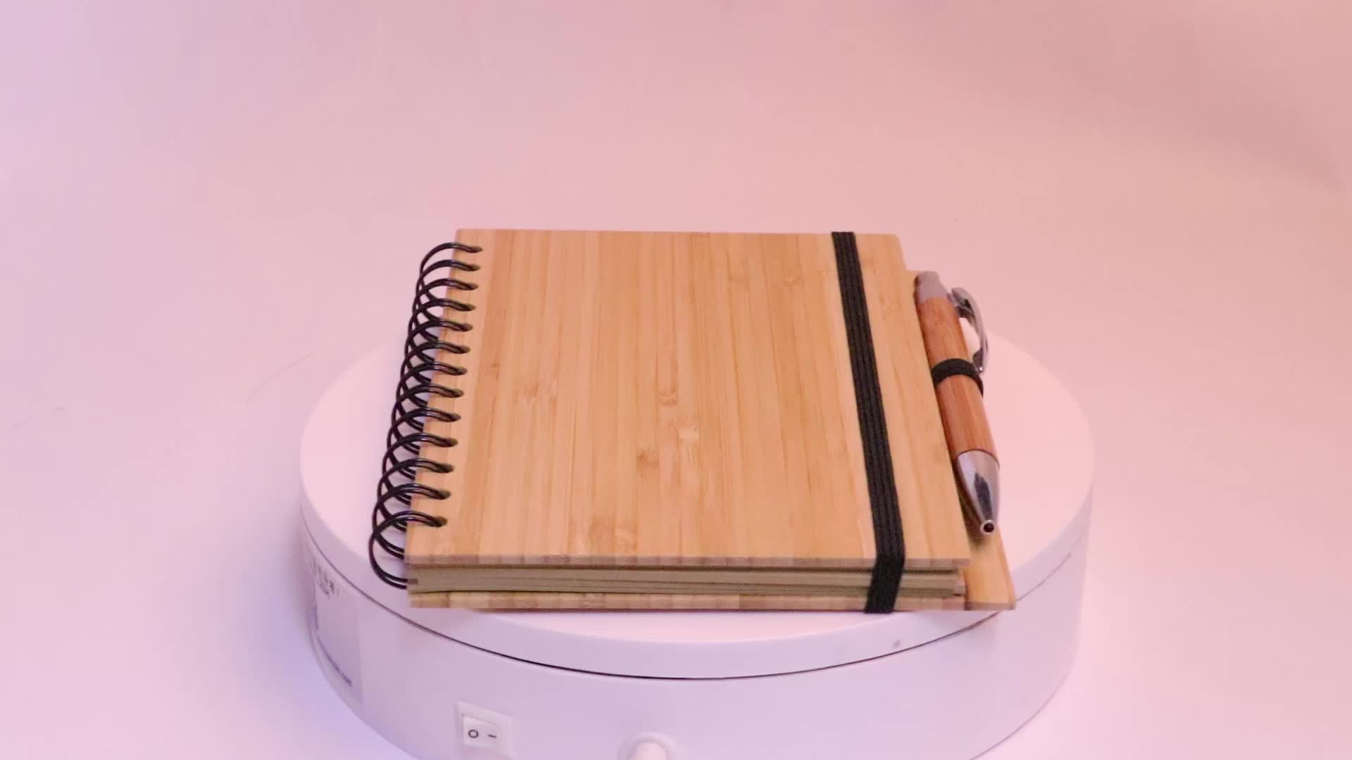 Unionpromo customized recycled bamboo cover notebook and pen gift set