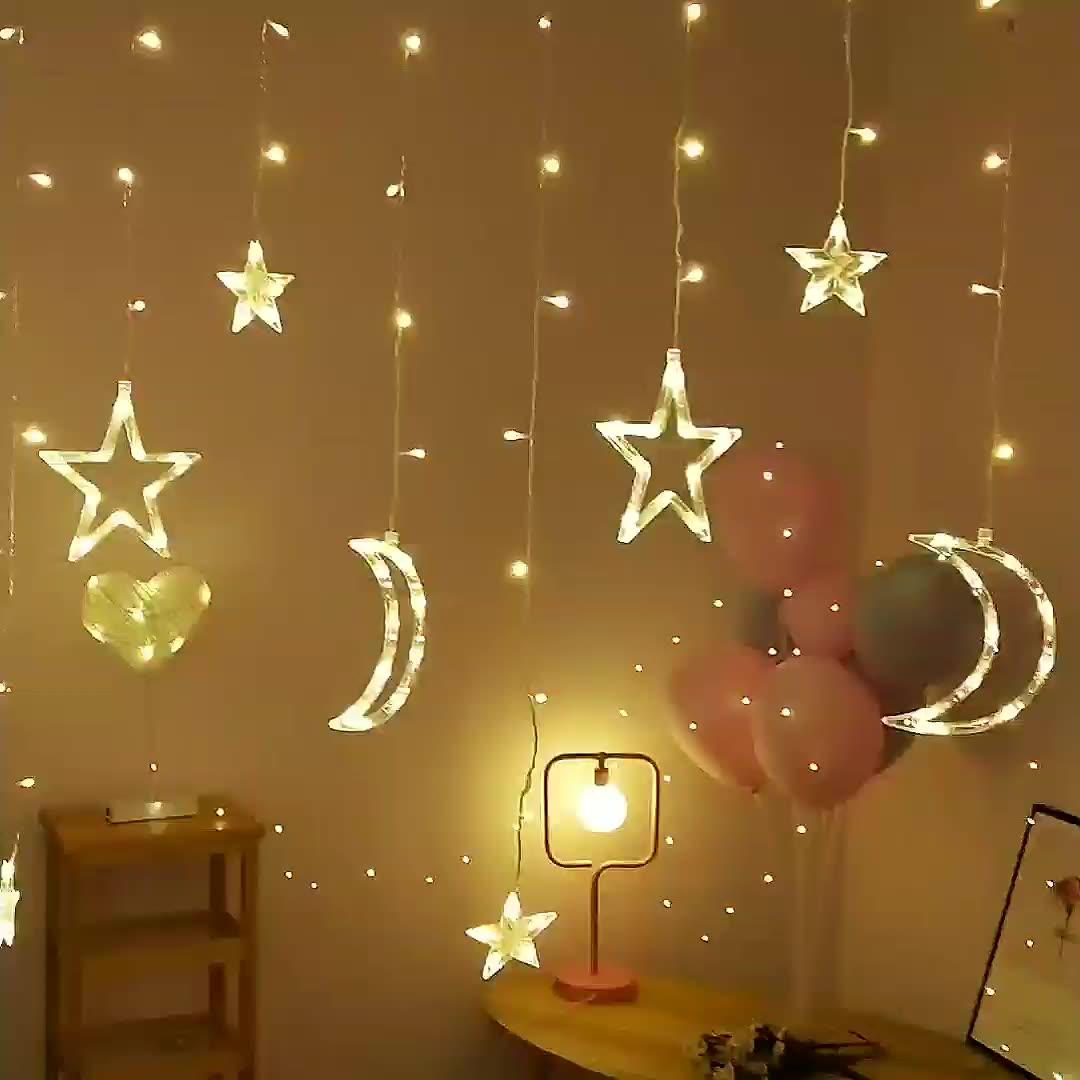 Ramadan Twinkle 138 LED Moon Star Lamp String Window Curtain Light For Wedding Party Christmas Decoration