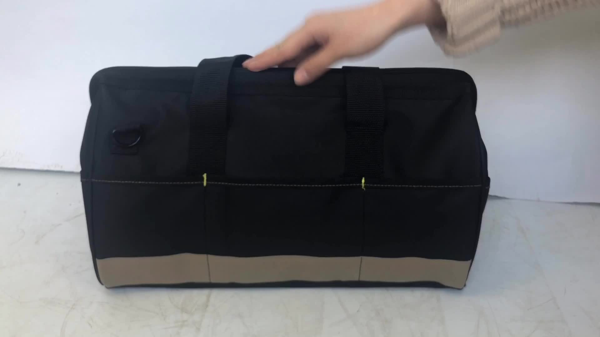 Heavy Duty Electrician Wide Mouth Storage Tool Bag With 22 Pockets