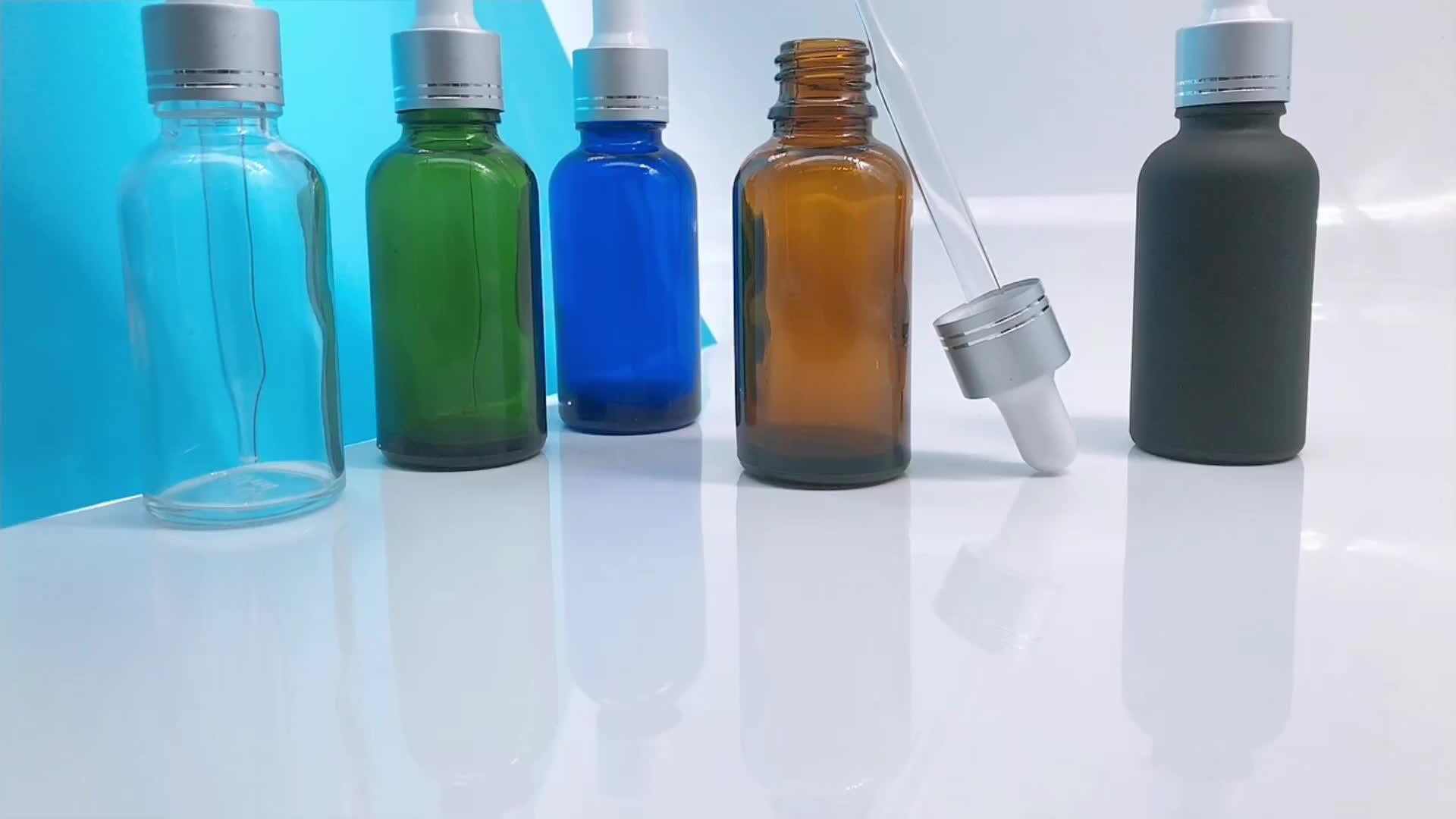 Auf Lager, grün bernstein blau klar 30ML glas dropper flasche mit box kosmetik parfüm ätherisches öl flaschen
