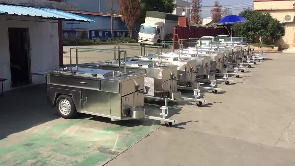 Multipurpose Commercial Stainless Steel Snack Food Cart Fast Food Truck
