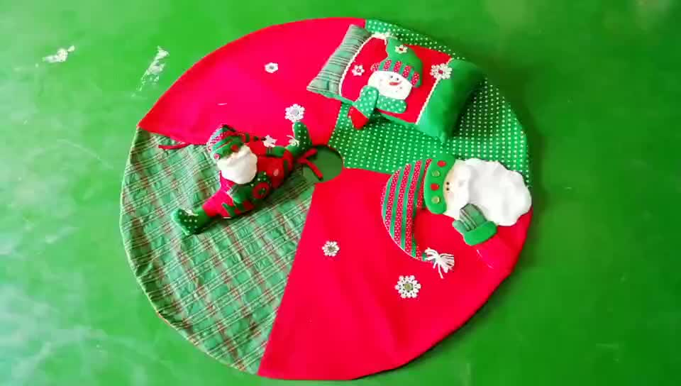 "Wholesale 38"" Xmas Tree Skirt Decor Red Felt Embroidered Merry Christmas"