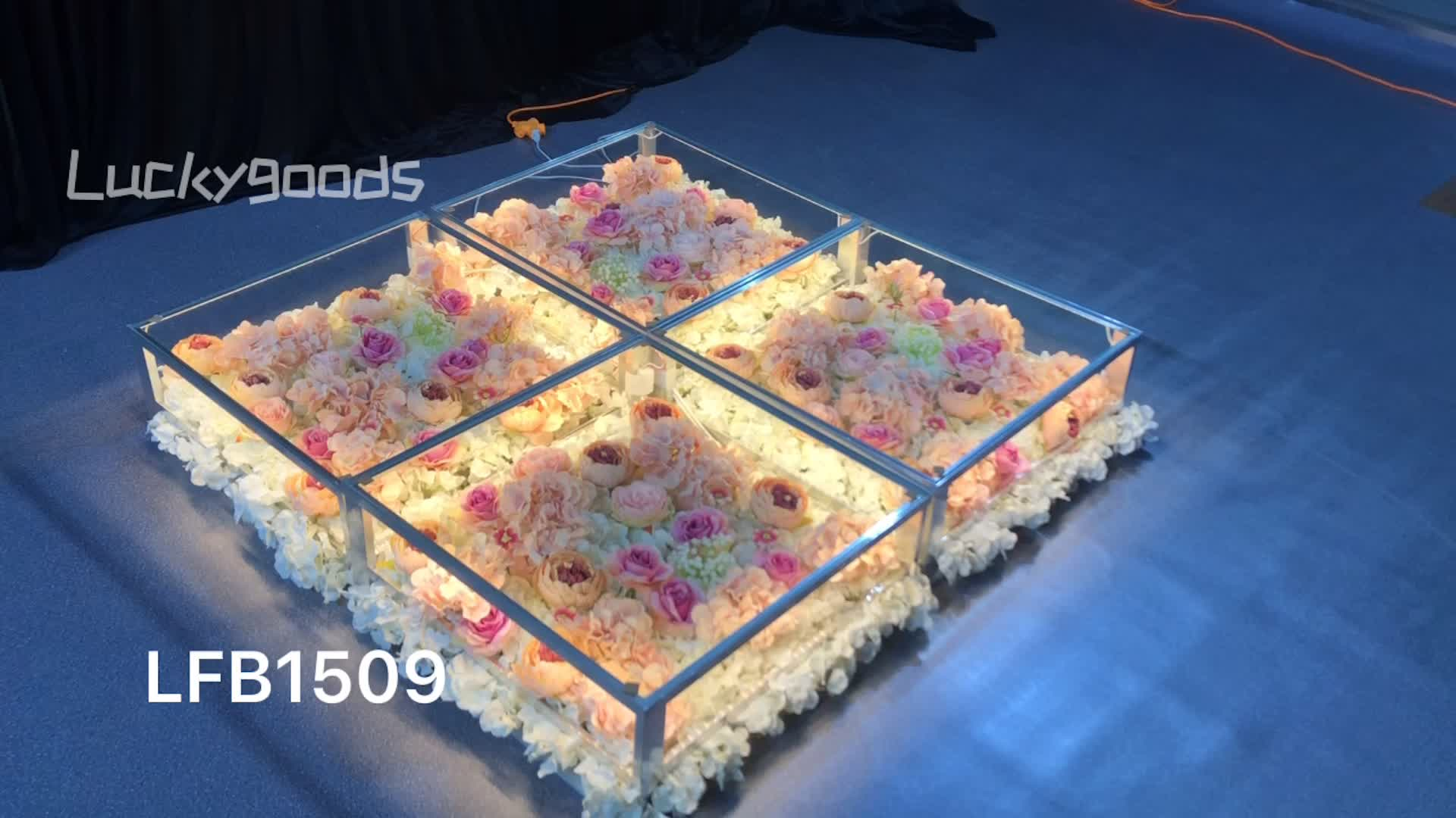 LFB1509 Luckygoods wholesale LED dancing floor panel with artificial flowers