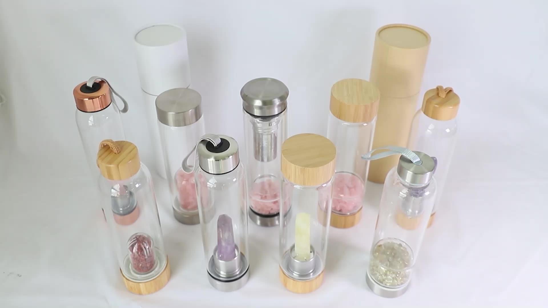 Écologique en gros cristal gravier verre bouteille d'eau en bambou sur mesure en cristal bouteilles