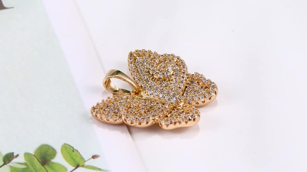 31573 Luxury free shipping Butterfly 18k gold plated fashion custom pendant for women