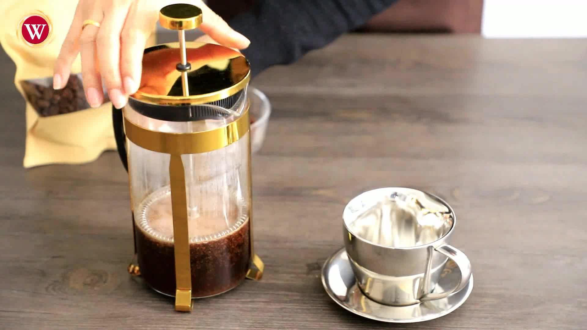 1.0 L / 34 OZ Golden Stainless Steel Heat Resistant Coffee Pot Tea maker