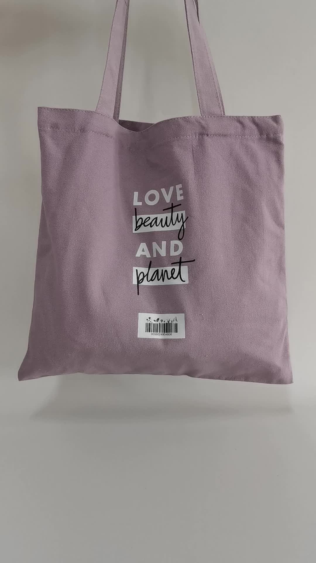 Wholesale purple  cotton tote shopping bag with custom printed logo
