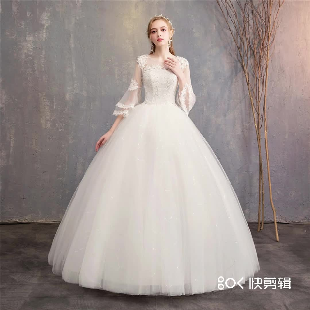 2019 New Elegant Good Price Polyester Beach Bridal wedding dress