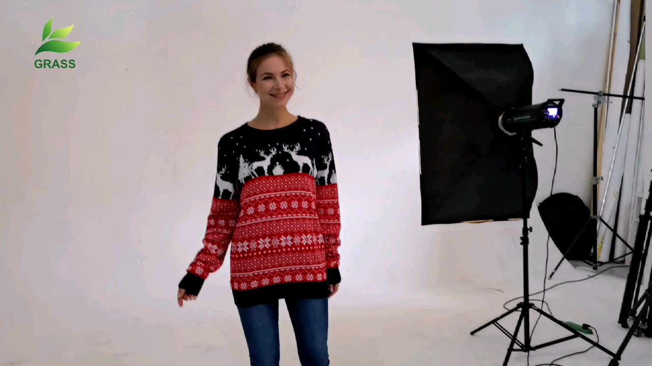 Computer Knitted Sweater Stock 2020 Little green hat funny print Letter Snow Men Ugly Christmas Sweater