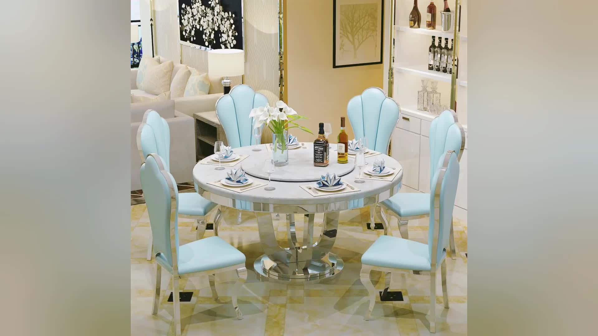 संगमरमर शीर्ष खाने की मेज की अच्छी लग रही के साथ खाने की मेज सेट ग्लास foshan शहर से CT011