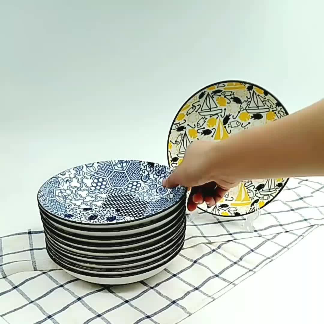 China Fabrikant Ins Stijl Premium Porselein Matte Glazuur Gedrukt Portie Soep Diner Plaat Met 10 Levendige Ontwerpen