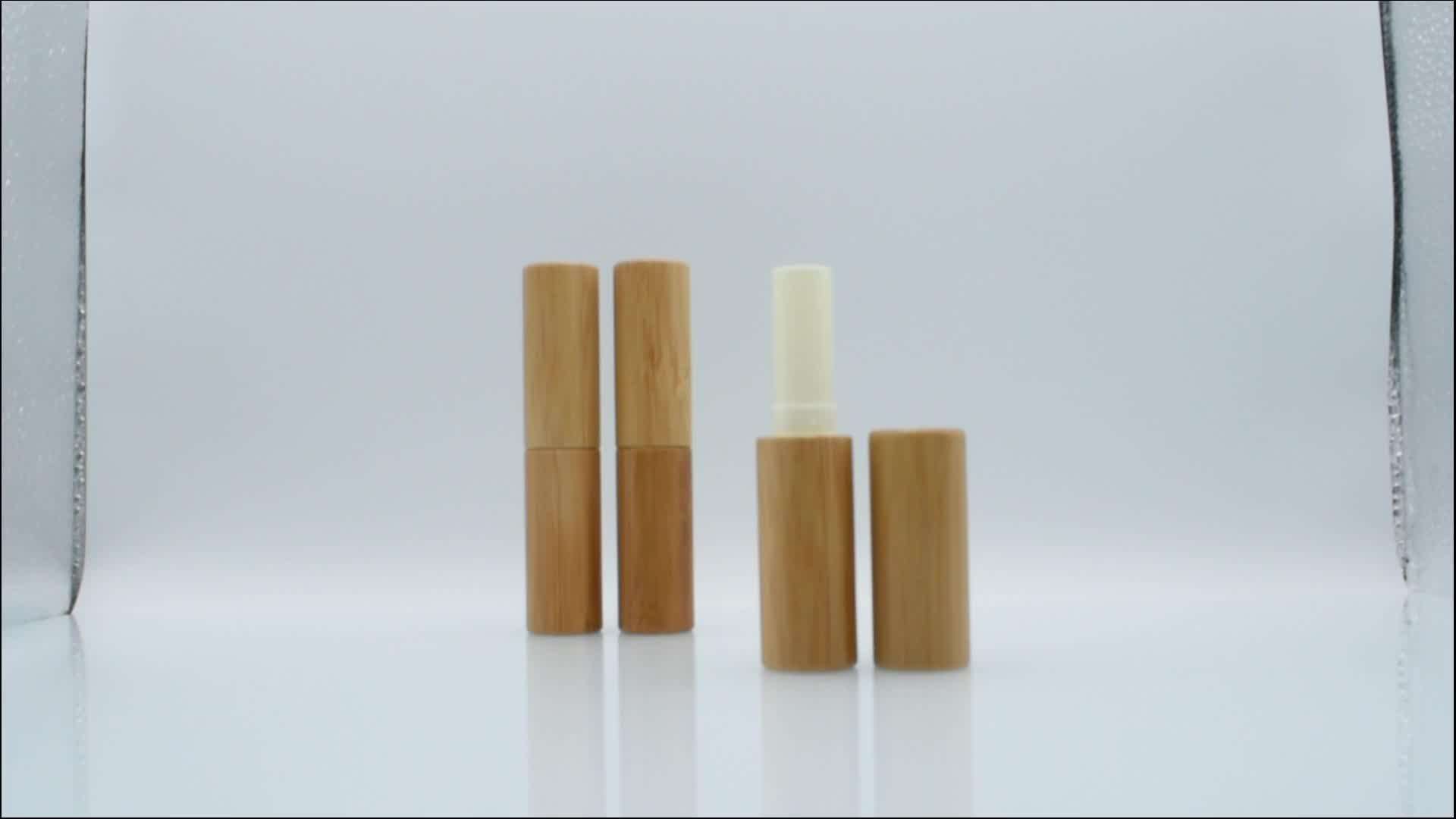 China fornecedor Ambiental 5 ml 5g 4 ml 4g tubo batom lip balm tubo de bambu de madeira de bambu