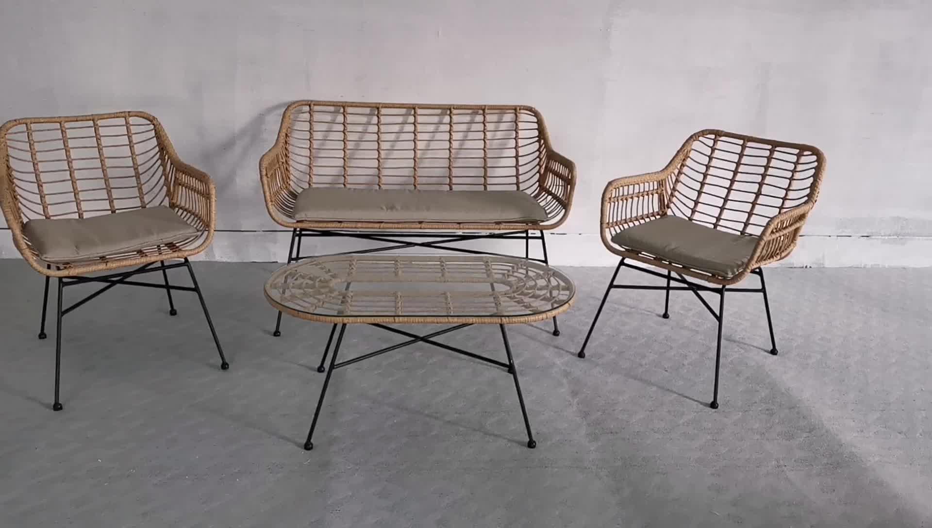 Muebles de jardín al aire libre 4 plazas sofá de ratán conjunto de
