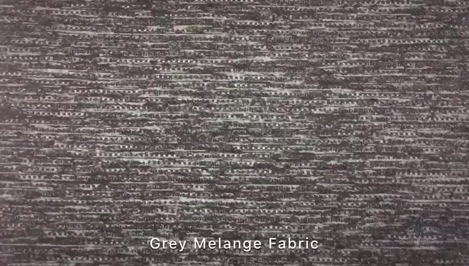 Tubular Dyed Yarn Grey Melange Jersey Knit Fabric for Sportswear 250GSM