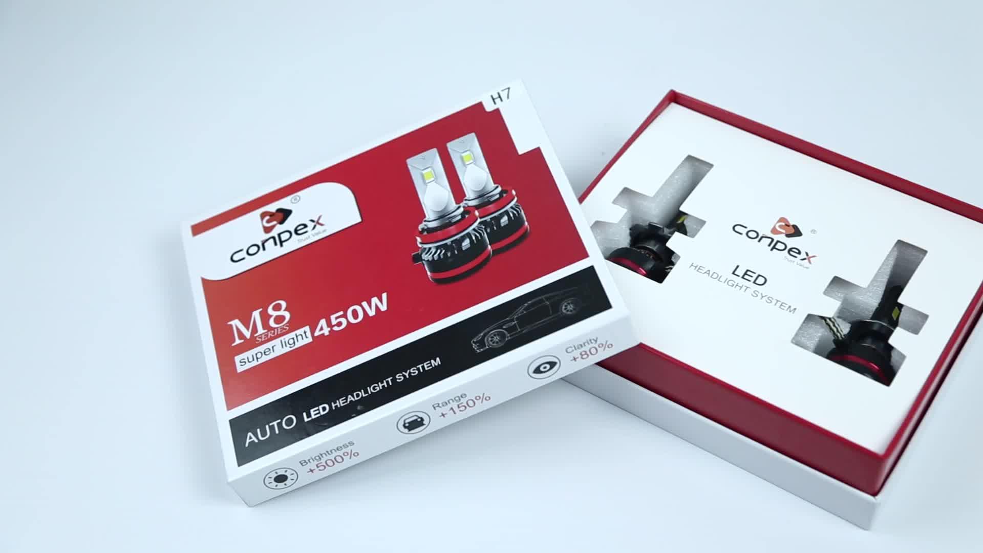 Conpex Gaya Baru 90 W 10000LM Super Terang M8 LED Headlight Kit H4 H1 H3 H7 H11 H13 9005 9006 9007 untuk Auto LED Lampu Mobil