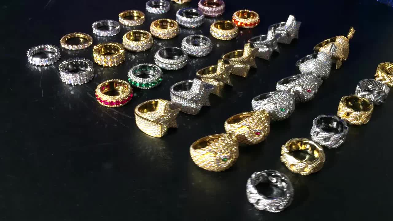 Miss Jewelry wholesale new fashion hip hop gold iced out diamond mens ring