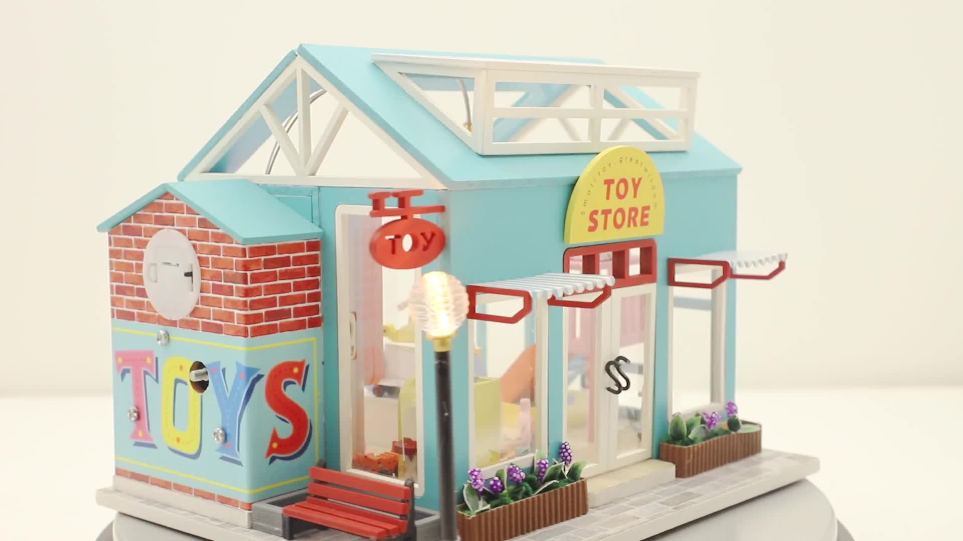 Kits de casa de Bonecas Em Miniatura De Madeira DIY Mini Casa com LED & Música