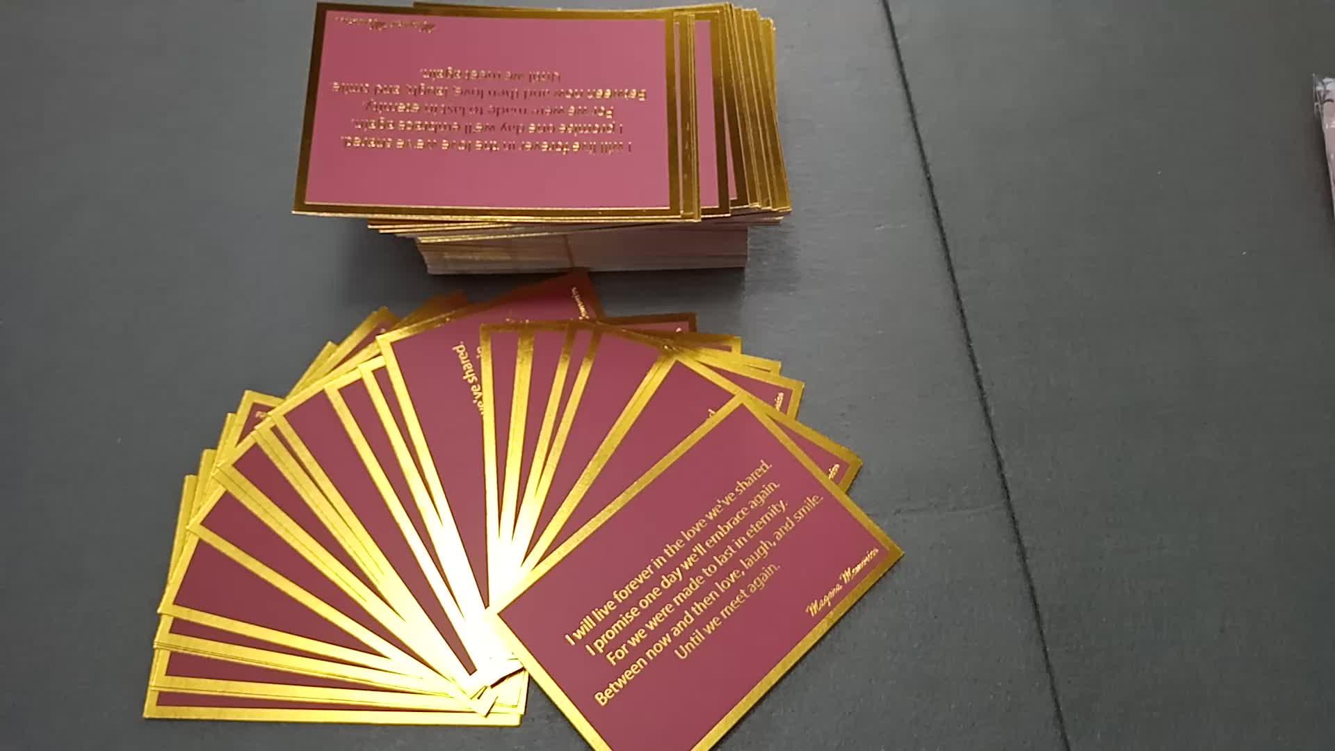 Venda quente Feito Sob Encomenda Caixas de Papelão com Papel de Impressão quente da folha de Ouro cartão de agradecimento para os Cartões Do Presente negócio