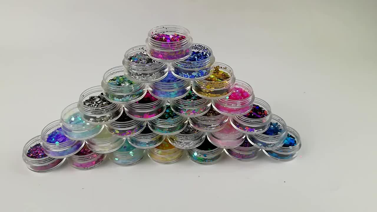 אבקת נצנצים צבעוני שונים צורות סופר איכות פסטיבל קישוט PET הולוגרפי סיטונאי בתפזורת גליטר