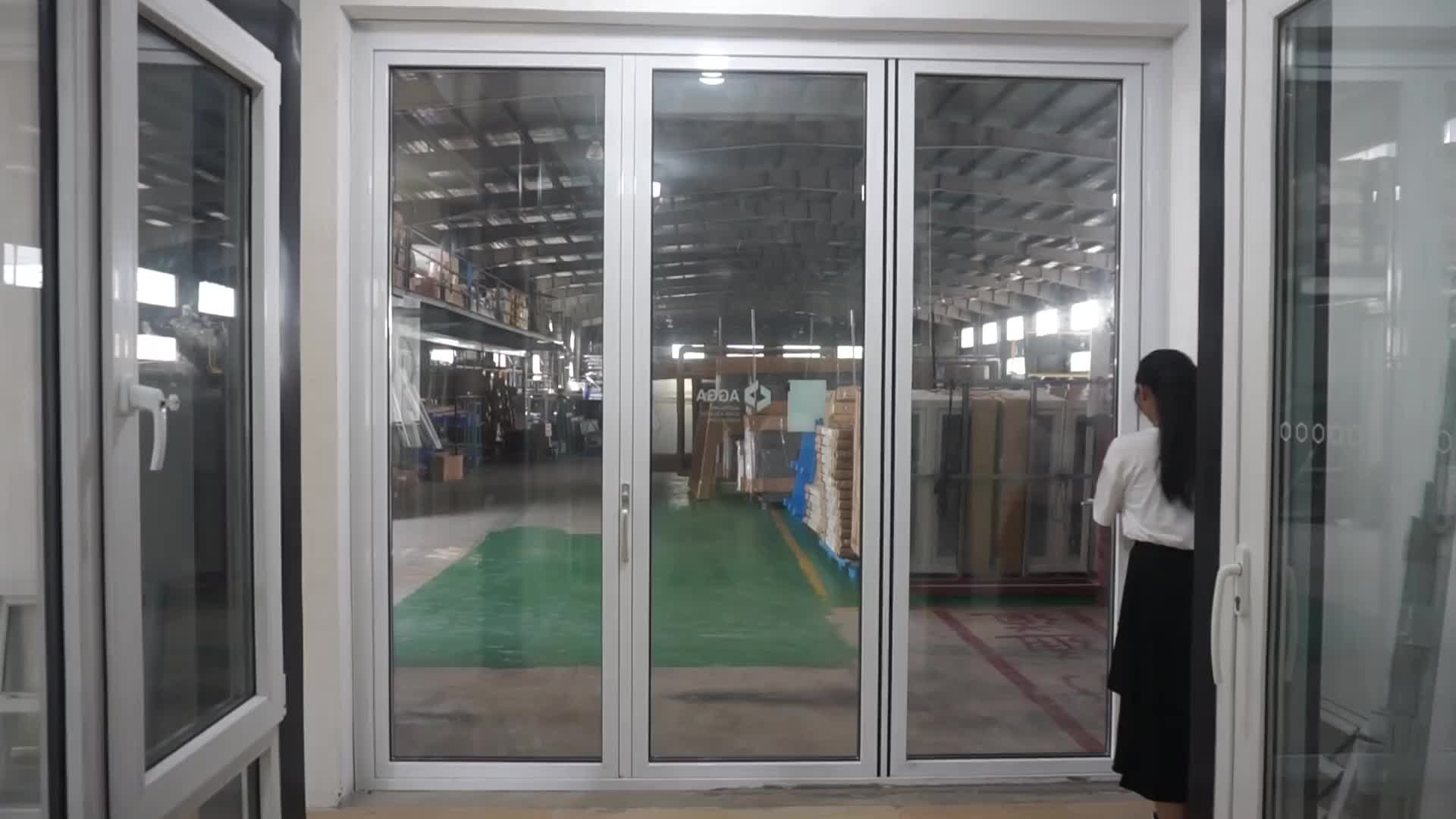 AS2047 Glass Patio Bi-fold Cheap Model Double Leaf Aluminum Alloy Door