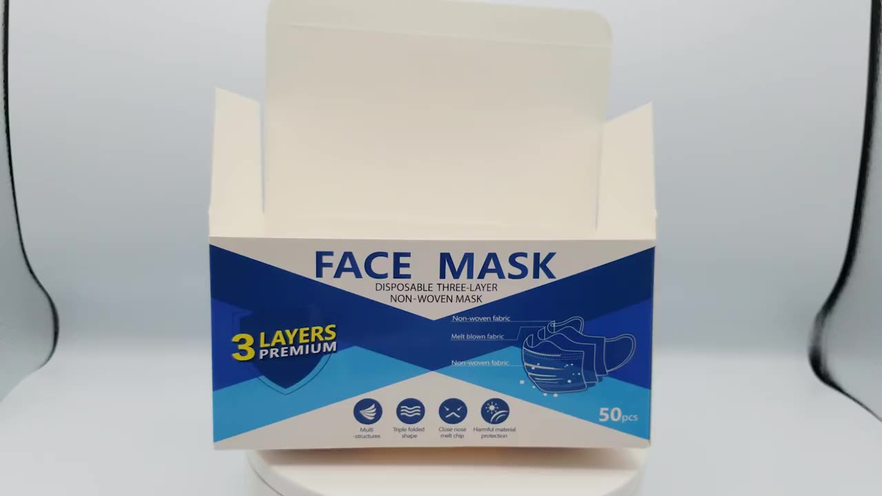 Mask Custom Folding Packaging Box Printing Box 300gsm White Card Box