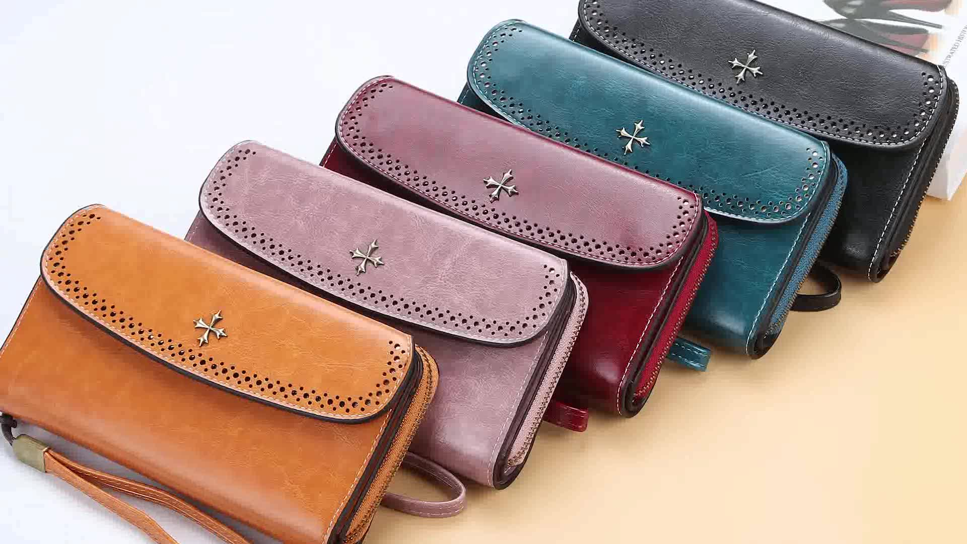 Baellerry 2019 New Style Fashion Long Section Clutch Wallet For Women With Handle Strap,Lady Four-leaf clover Wallet
