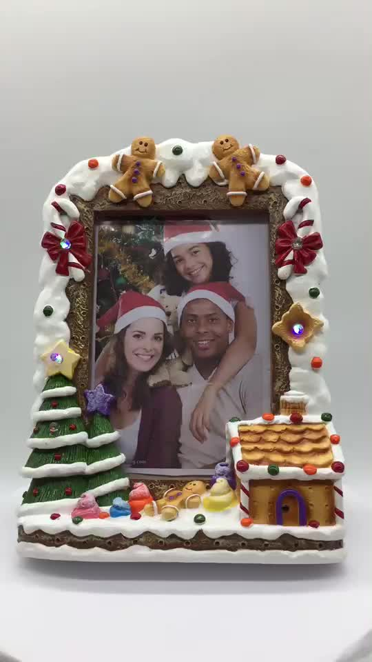 2017 Hot Sale Resin Picture Frame Light Up Merry Christmas Resin