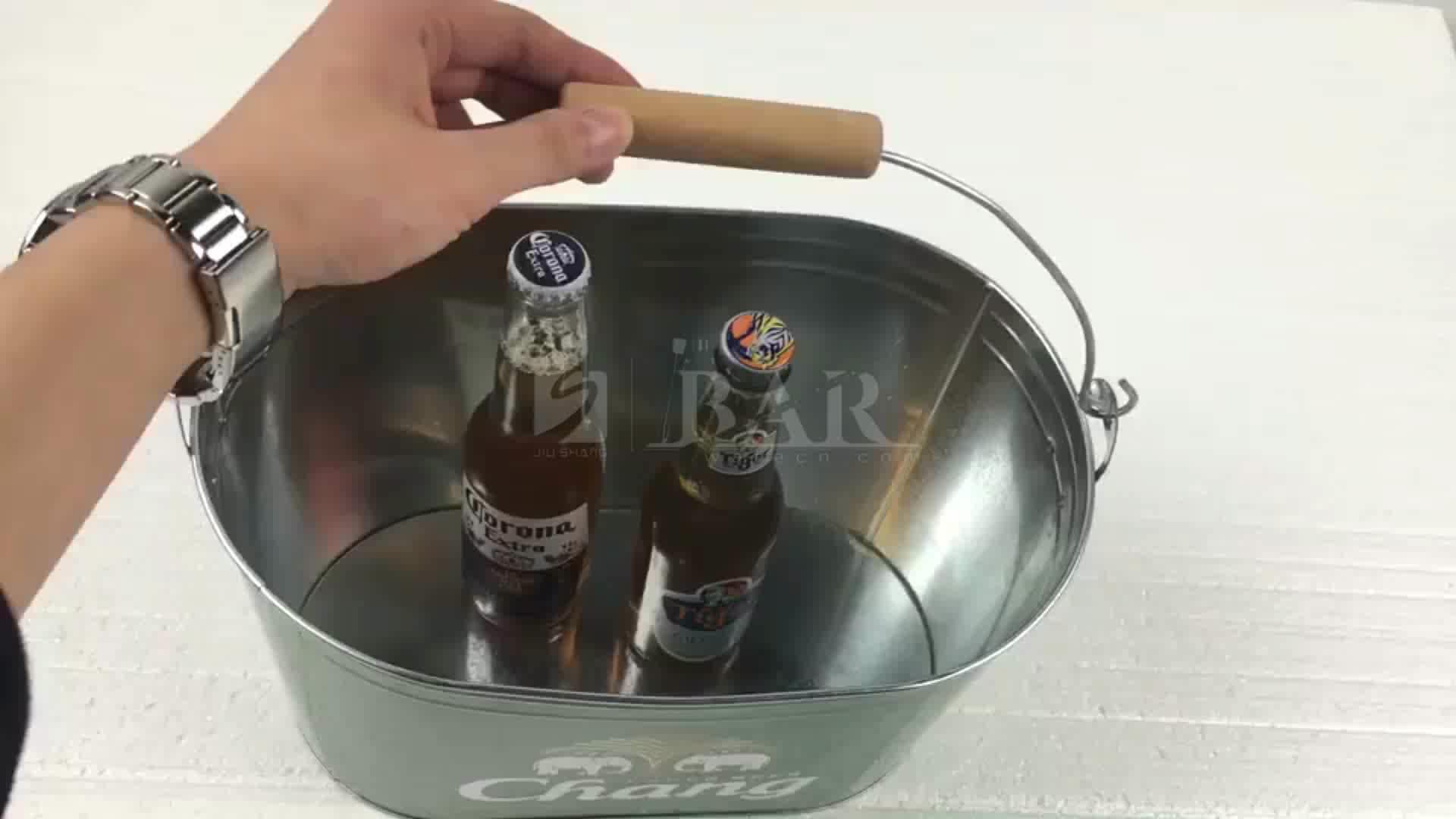 10L big size wijn blik gegalvaniseerd ijzer tin metalen chang bier ijs emmer met handvat flesopener