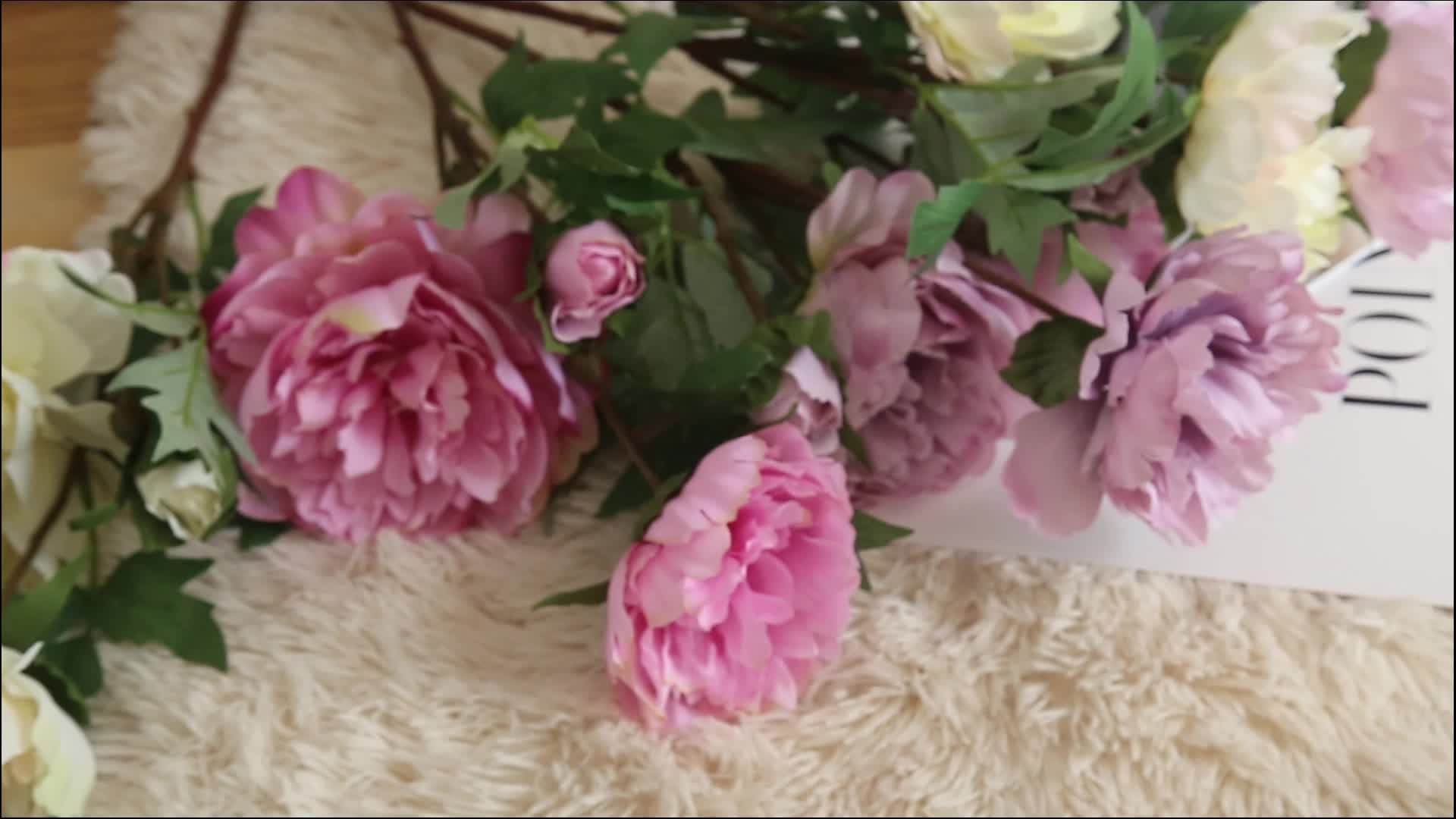 Beautiful Colorful Real Touch Artificial Peony Flower With Long Stem Wedding Decor