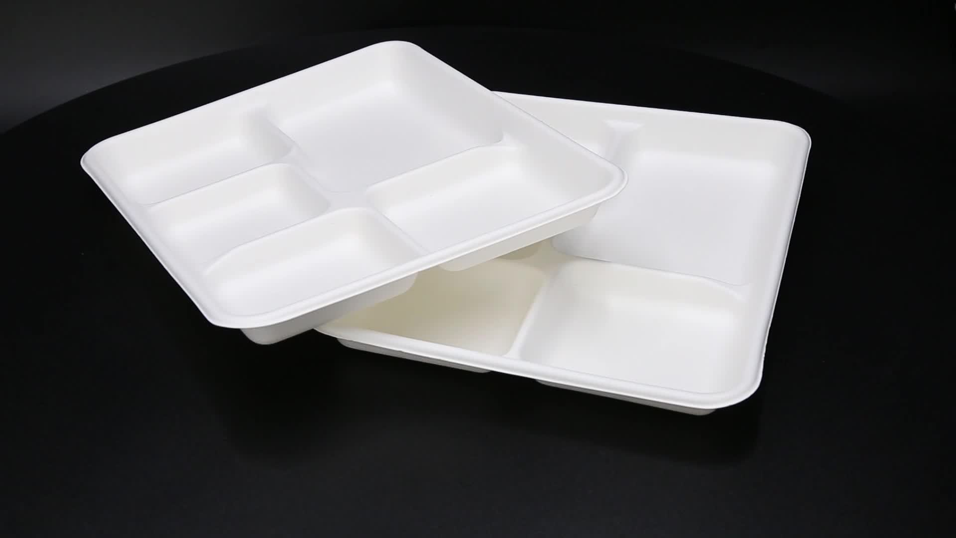 Sugarcane fiber 5 compartment unbleached disposable packaging food trays food grade for microwave without lid