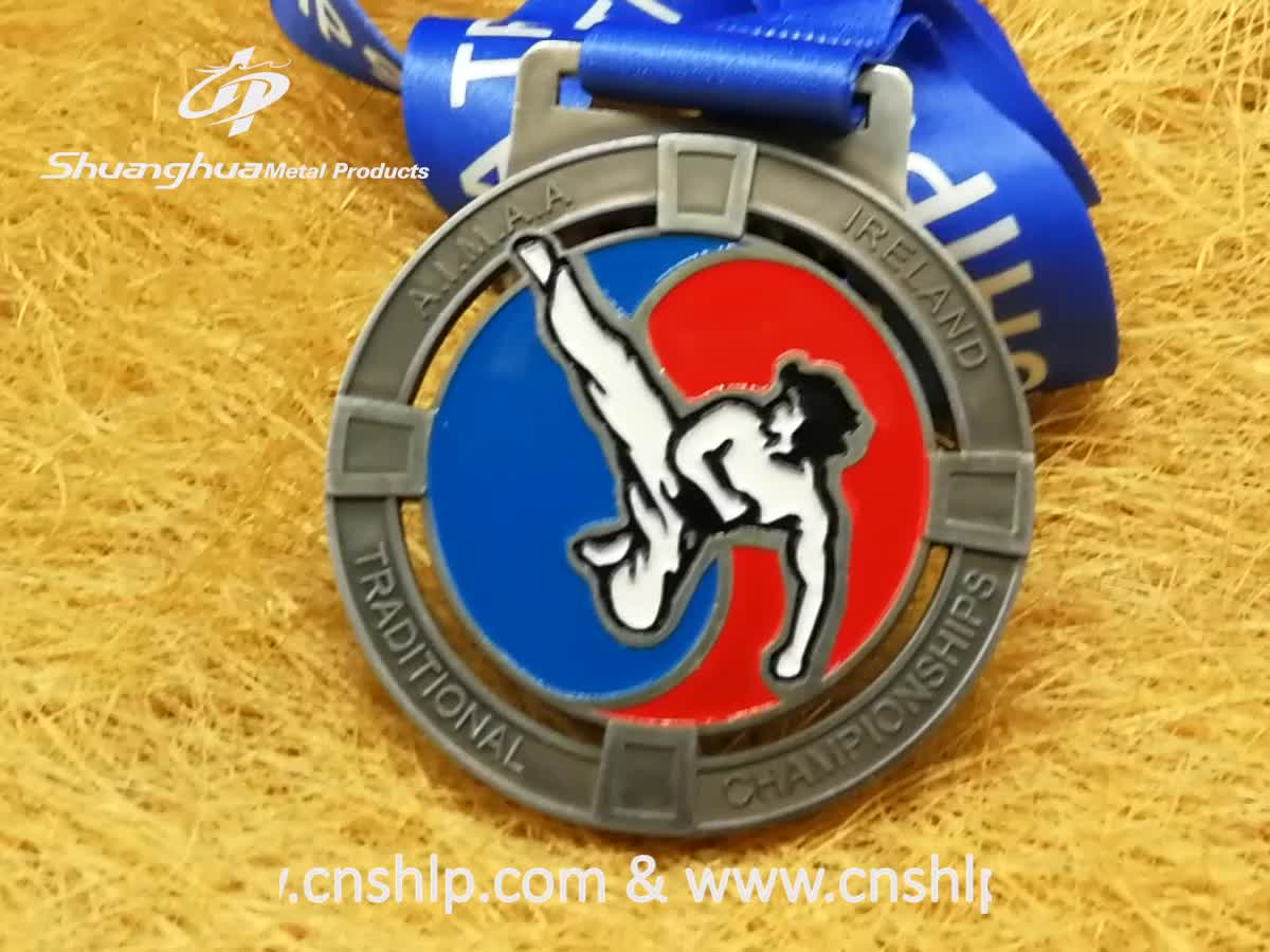 Wholesale antique gold metal customize taekwondo competition sports medals