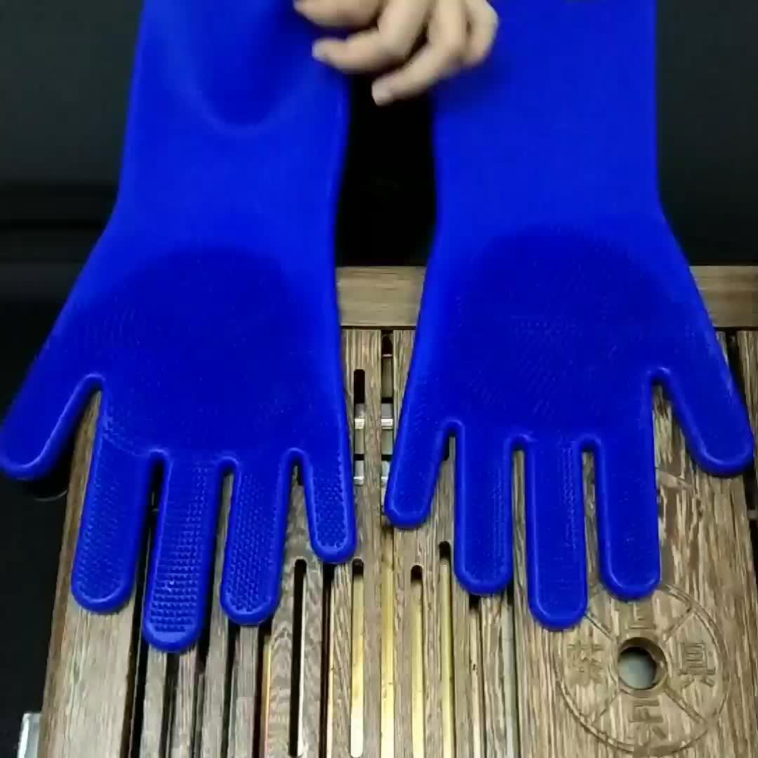 Fancy cosmetische silicone hittebestendige rubber handschoenen voor reiniging en huishoudelijke en schotel wassen