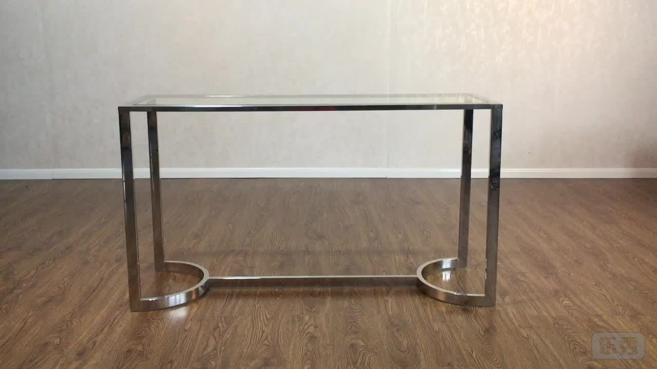 Modern glass and stainless steel chrome console table