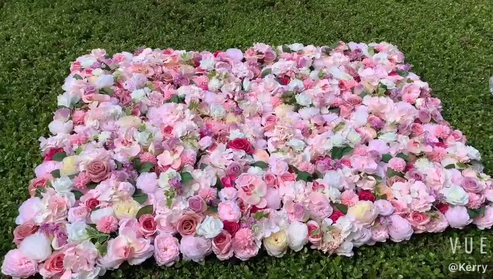 F-1127 Customizable Artificial Rose Flower Wall For Wedding Decoration