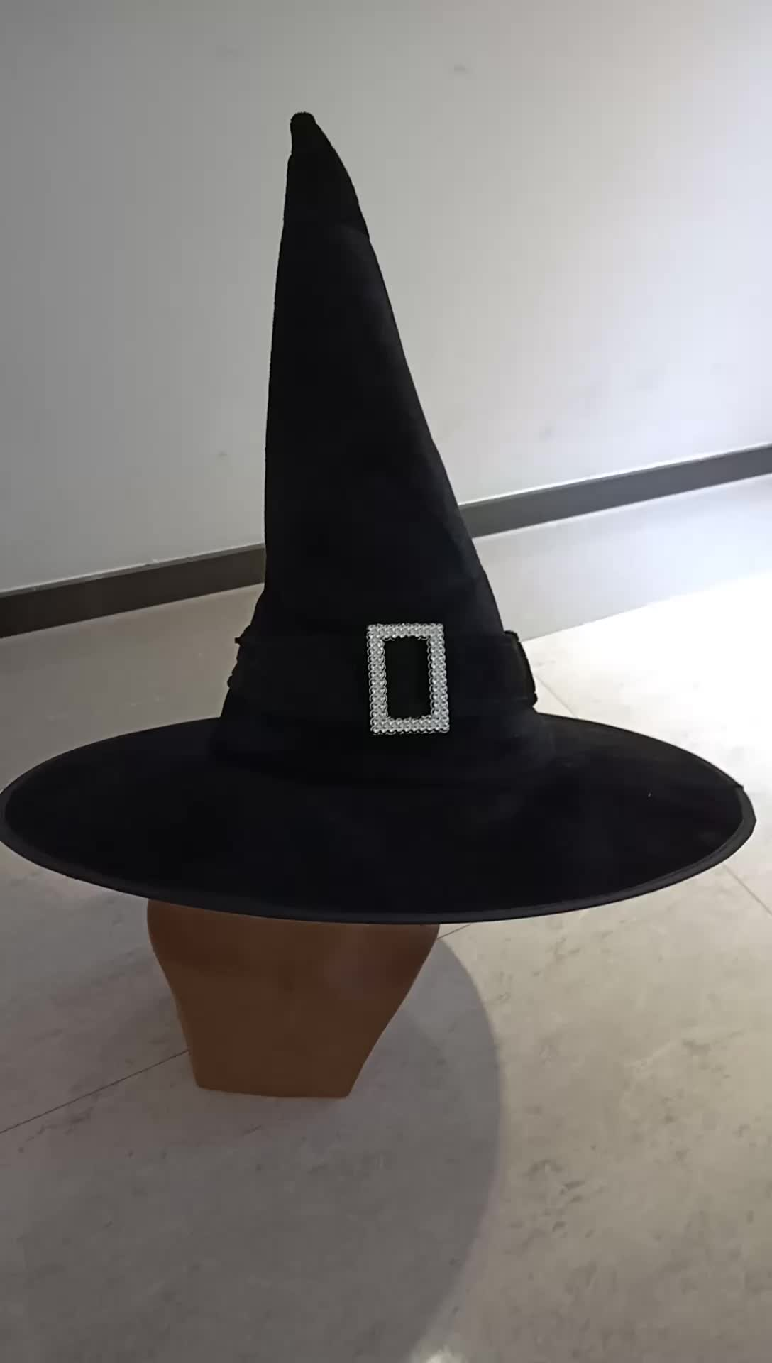 wholesale black halloween witch hat with buckle