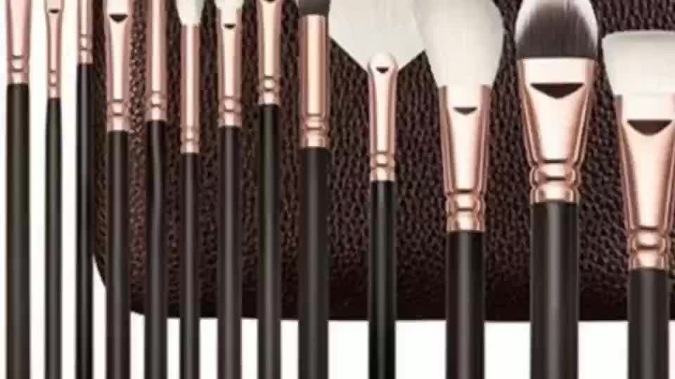 15Pcs Pro PU Leather Bag Goat Hair Makeup Brushes Cosmetic Powder Foundation Make Up Brush Set