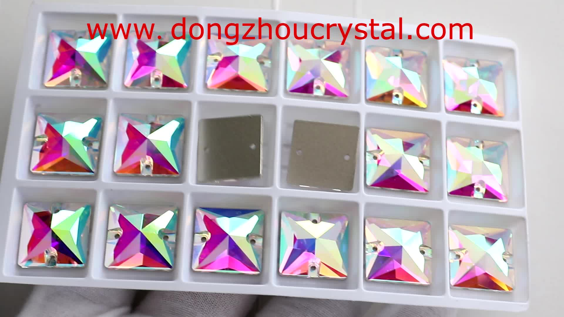 Top Quality Light Peach Square Sew On Stone With 2 Holes For Garment Shoes Manufacturer