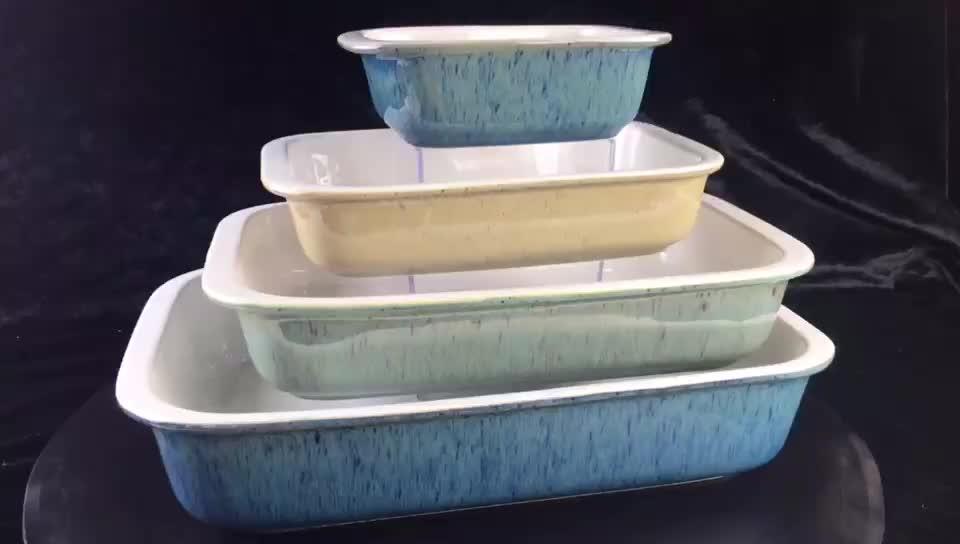 सिरेमिक Bakeware सेट आयत रोटी के लिए बेकिंग डिश कंद पैन और दौर Ramekin