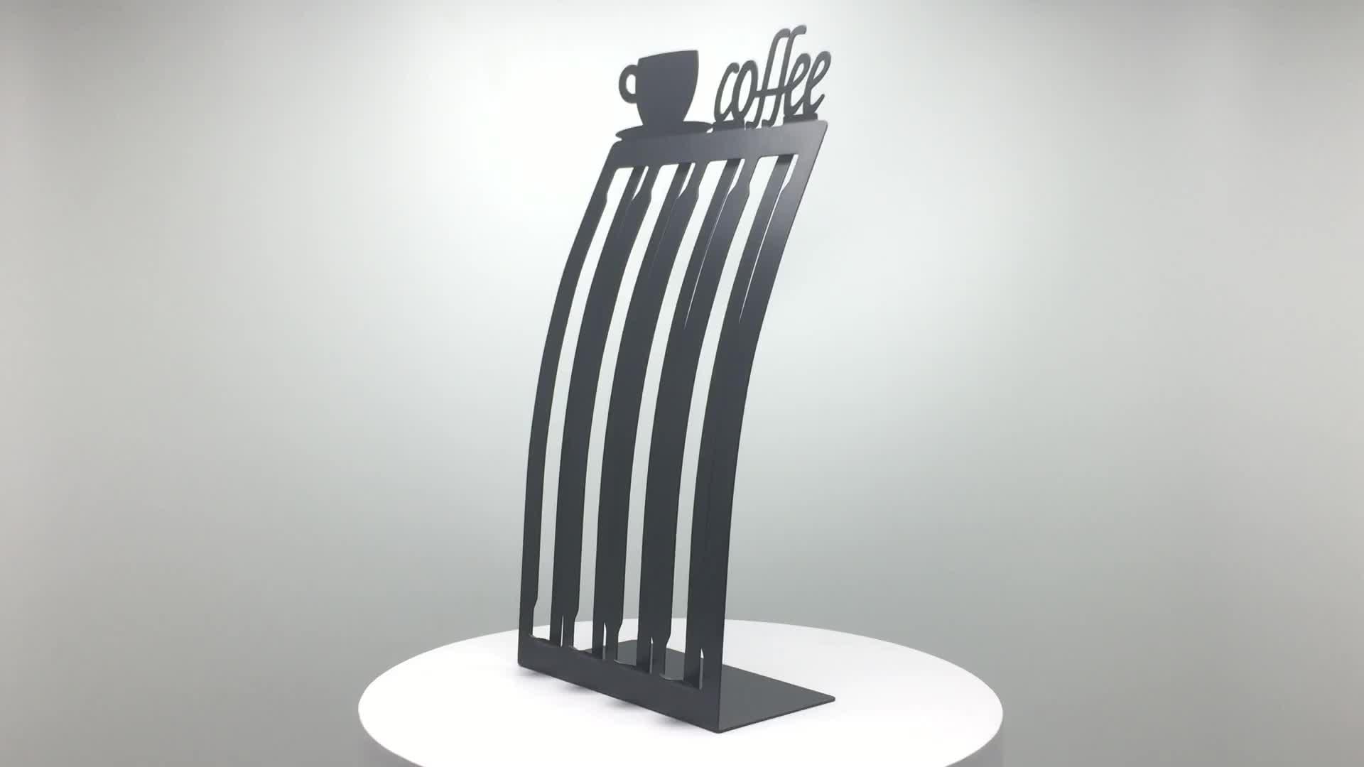 Home Kitchen Organizer ลวดโลหะถ้วยกาแฟ Pod Stand Nespresso Capsule Holder