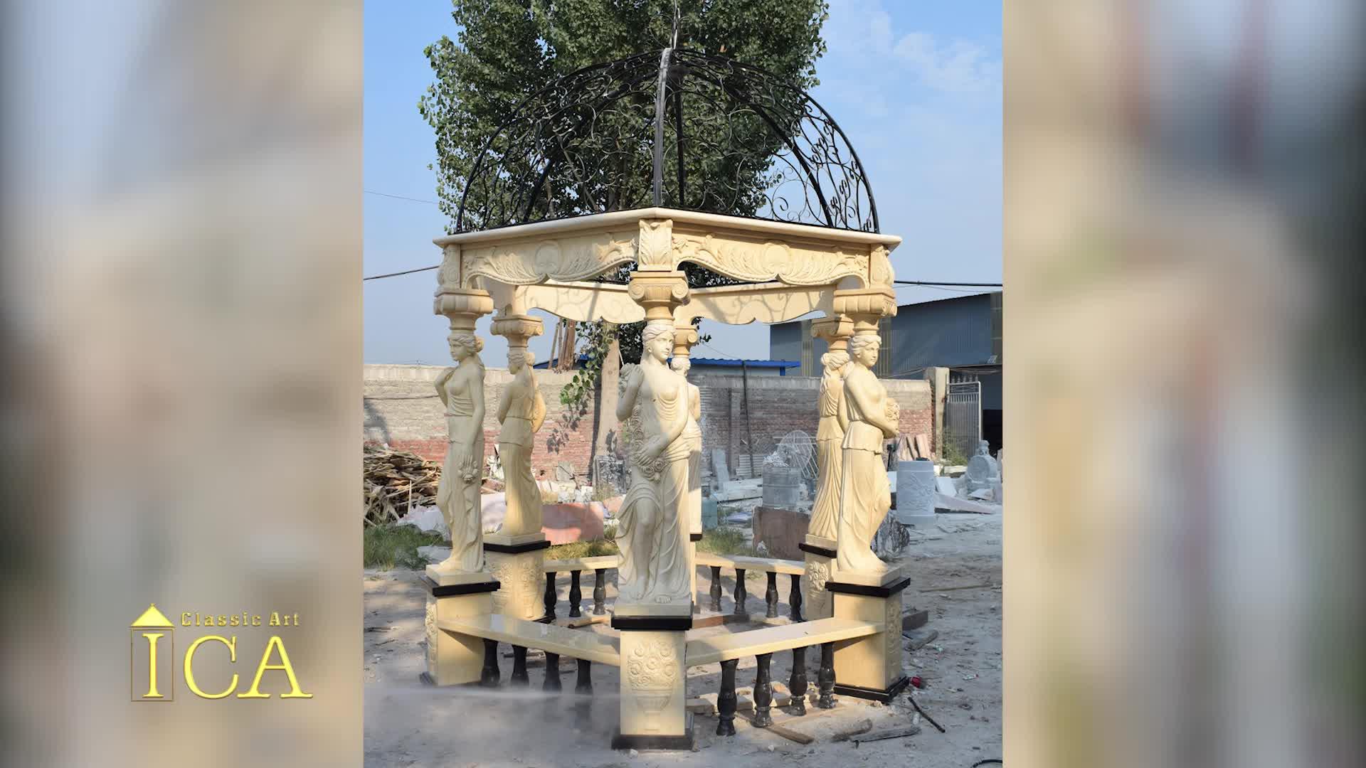 European style outdoor garden natural red marble gazebo for sale