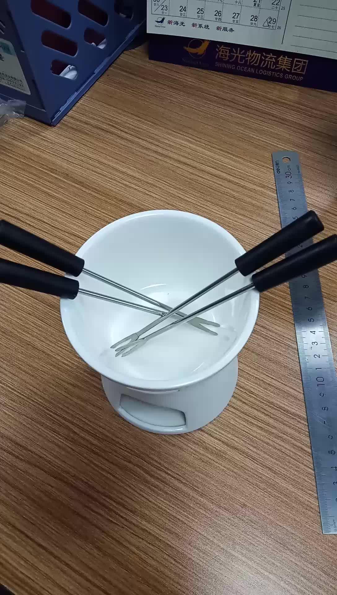 Keramische Chocolade Fondue Set Met 4 Vorken, Premium Thee Licht Porselein Melting Pot