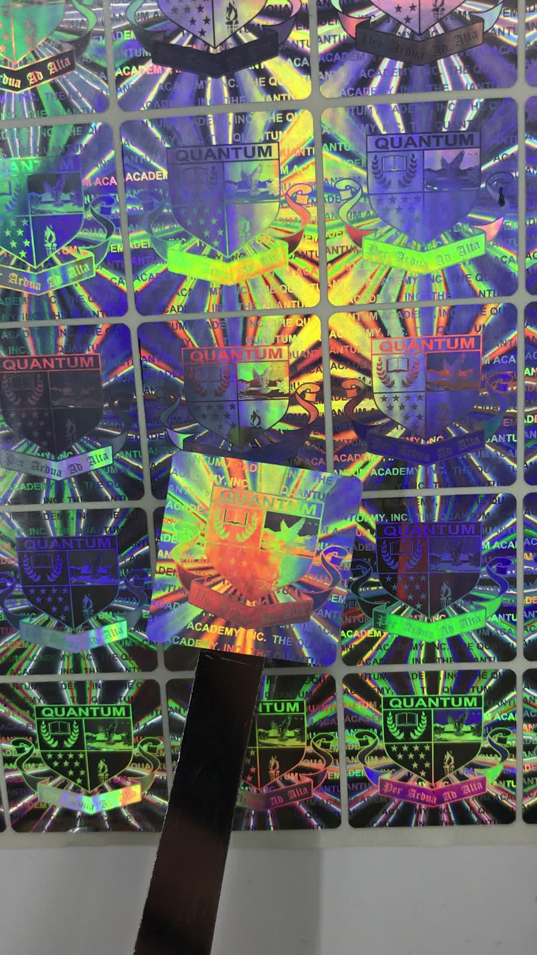 Silver sticker 3D one self-destroyed hologram custom holograms self-destroyed holograms,ipad 2 hologram