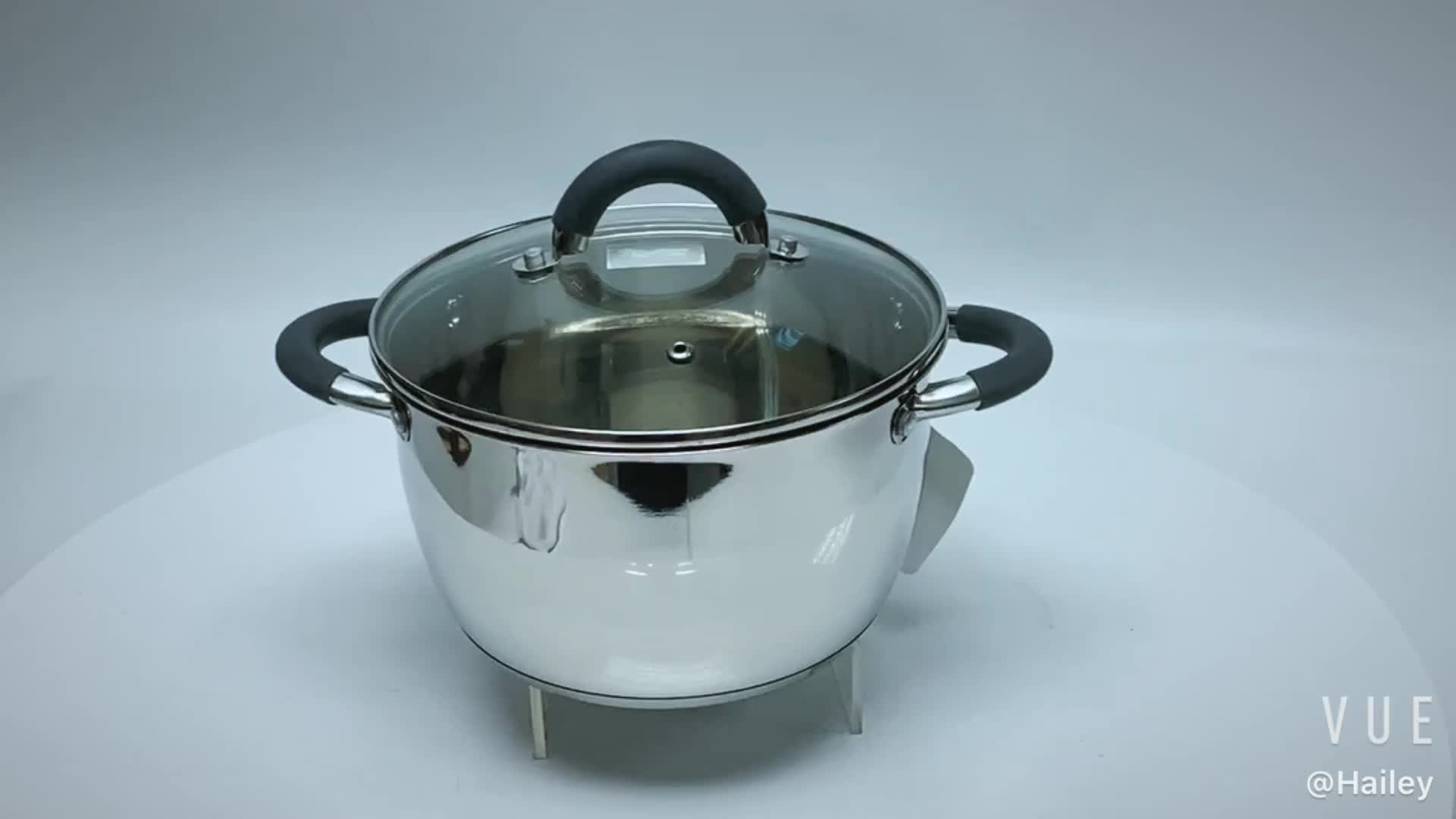 conical shape 20cm stainless steel cookware cooking pot with heat proof handle
