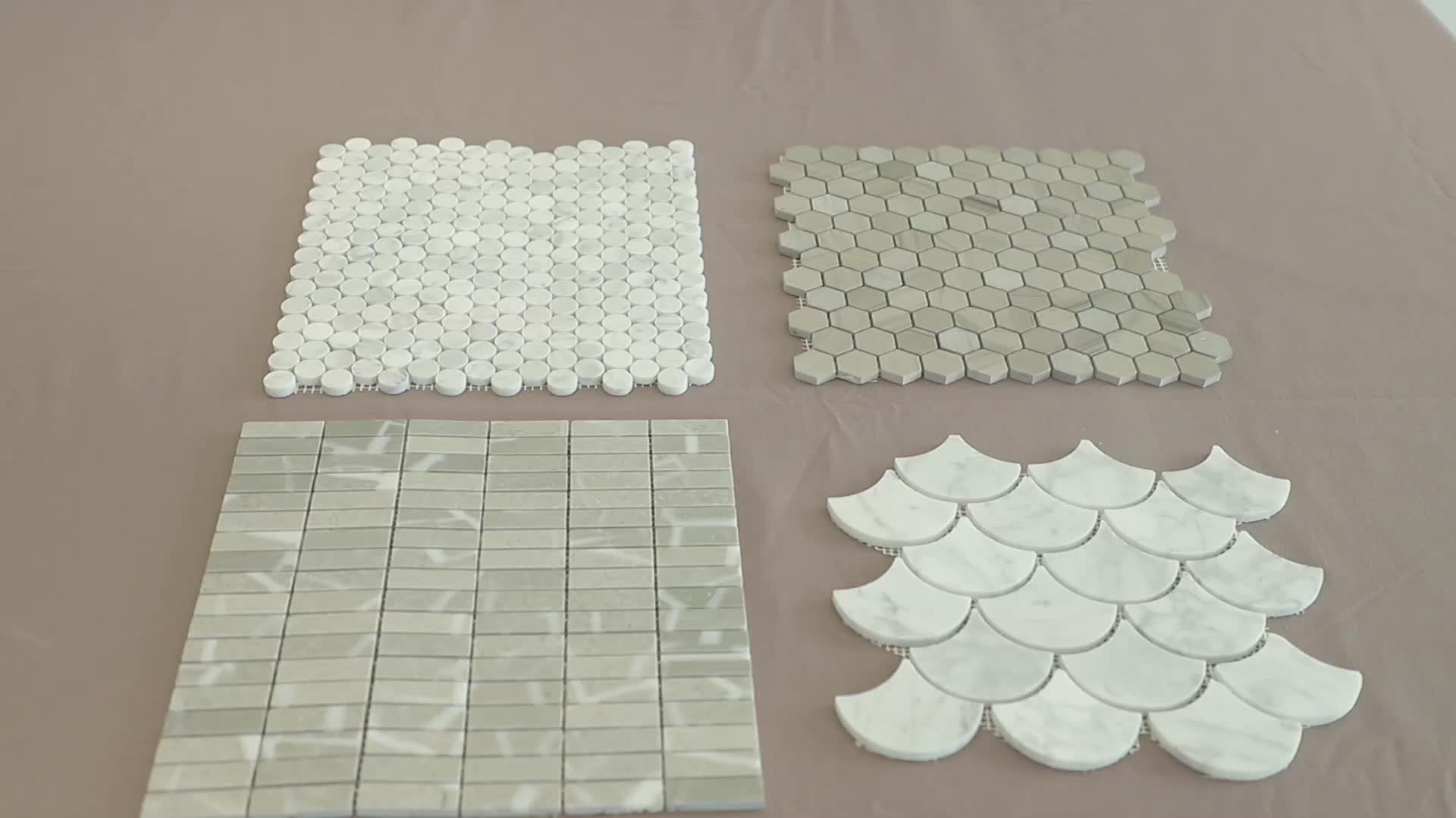 Wholesale Star Jigsaw 3d Diamond Shape Wall Ming Green Marble Lantern Mosaic Tile