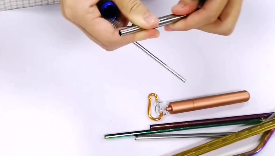 New Product Ideas 2020  Drinks Rose Gold Metal Stainless Steel Rainbowed Telescopic Straw