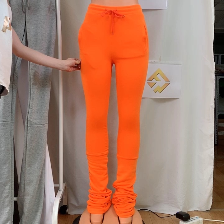 2020 Autumn and Winter Solid  High Casual Mid Waist Pocket Drawstring Thick Sweatpants Pleated Flared Pants Stacked Leggings
