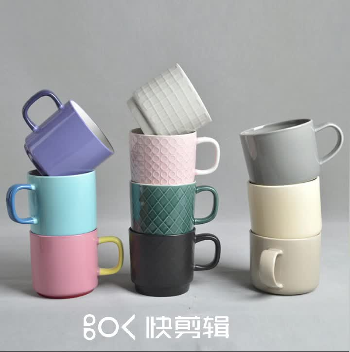 Hot Sale Colorful glazed stackable stoneware coffee mugs
